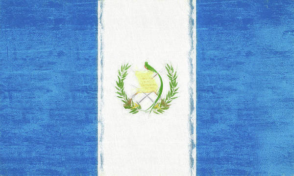 Flag Of Guatemala Digital Art - Flag Of Guatemala Grunge by Roy Pedersen