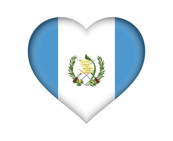 Flag Of Guatemala Digital Art - Flag Of Guatemala Heart by Roy Pedersen