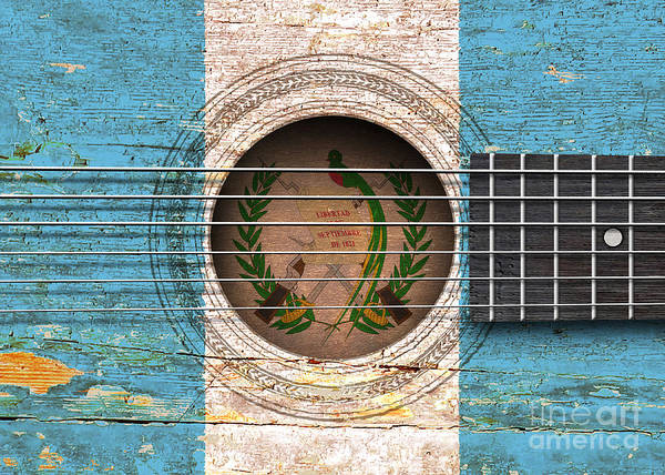 Flag Of Guatemala Digital Art - Flag Of Guatemala On An Old Vintage Acoustic Guitar by Jeff Bartels