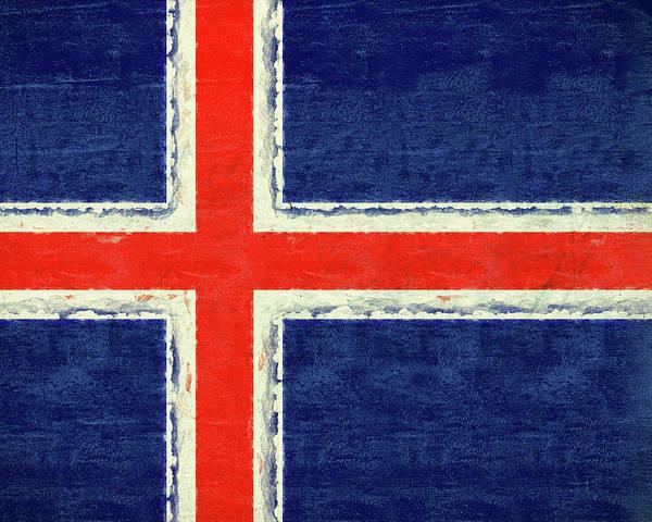 Icelandic Digital Art - Flag Of Iceland Grunge by Roy Pedersen