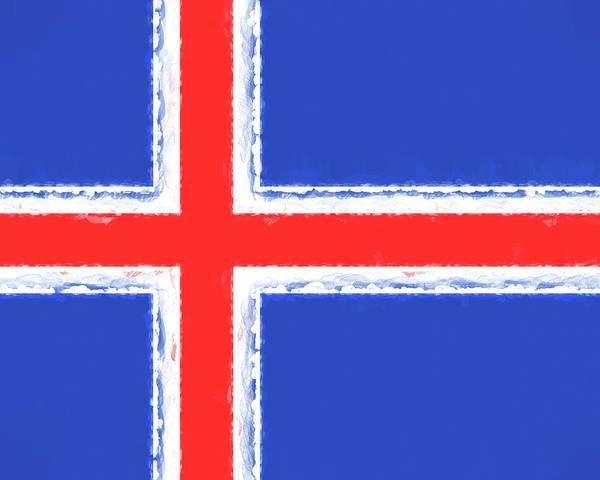 Icelandic Digital Art - Flag Of Iceland Smudged by Roy Pedersen