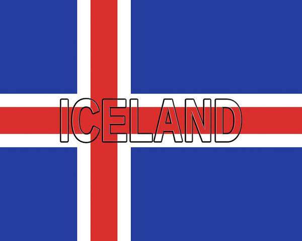 Icelandic Digital Art - Flag Of Iceland Word by Roy Pedersen