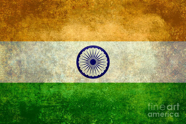 Wall Art - Digital Art - Flag Of India Retro Vintage Version by Bruce Stanfield
