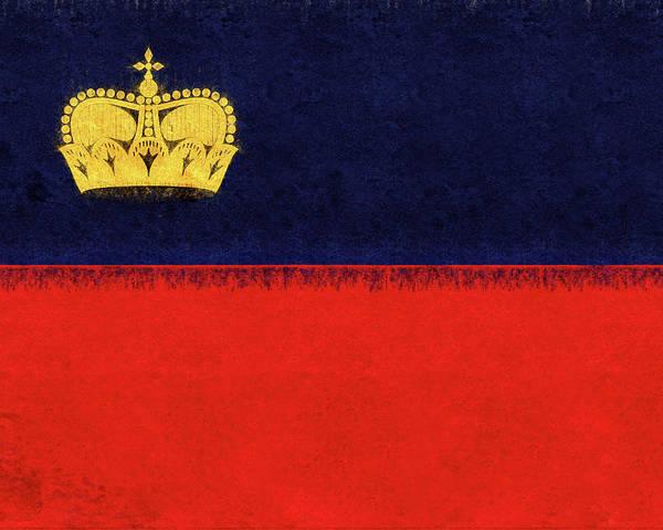 Liechtenstein Digital Art - Flag Of Liechtenstein Grunge by Roy Pedersen