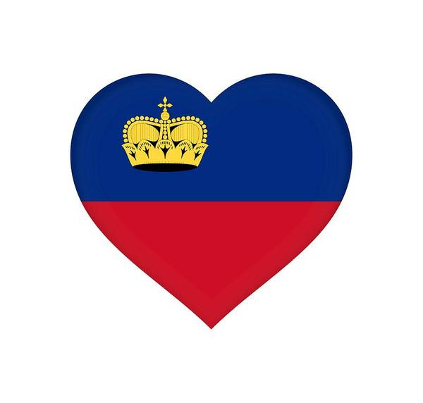 Liechtenstein Digital Art - Flag Of Liechtenstein Heart by Roy Pedersen