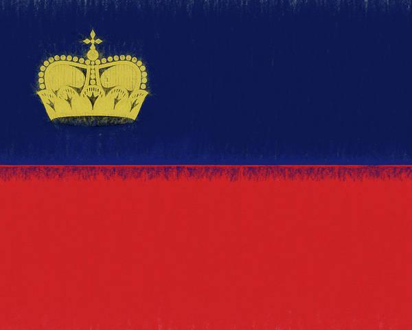 Liechtenstein Digital Art - Flag Of Liechtenstein Smudged by Roy Pedersen