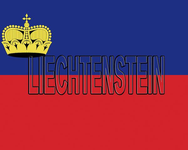 Liechtenstein Digital Art - Flag Of Liechtenstein Word by Roy Pedersen