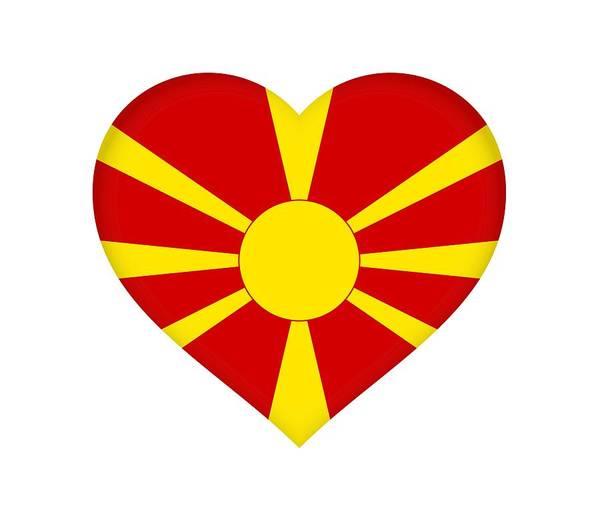 Macedonia Digital Art - Flag Of Macedonia Heart by Roy Pedersen