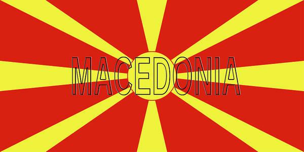 Macedonia Digital Art - Flag Of Macedonia Word by Roy Pedersen