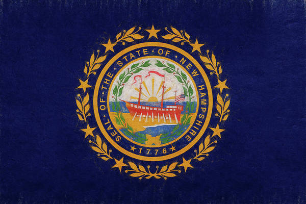Granite State Digital Art - Flag Of New Hampshire Grunge by Roy Pedersen