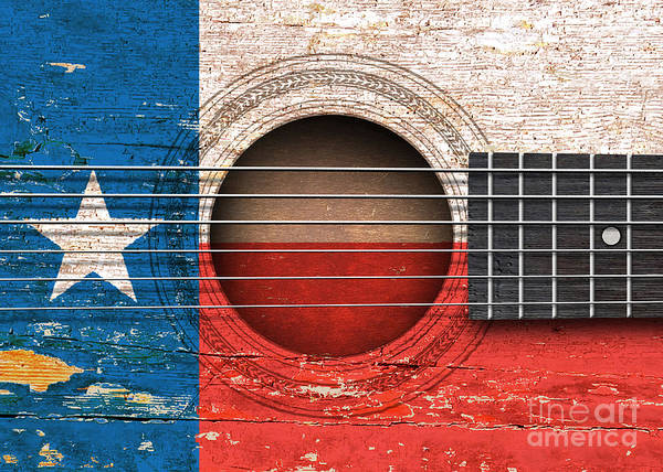 Six Wall Art - Digital Art - Flag Of Texas On An Old Vintage Acoustic Guitar by Jeff Bartels