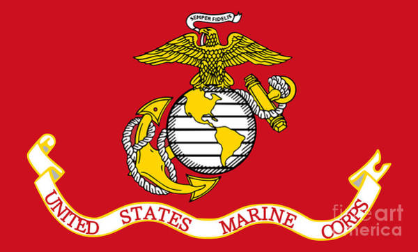 U S Painting - Flag Of The United States Marine Corps by Pg Reproductions