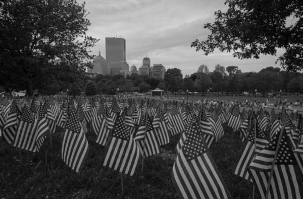 Photograph - Flag On Boston Common Black And White by Brian MacLean