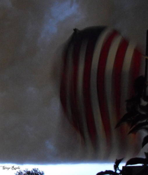 Saint Louis County Photograph - Flag Parachute In Storm by Ginger Repke