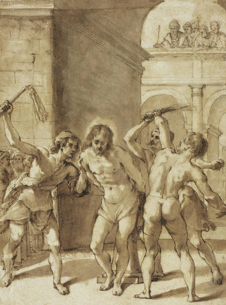 Christ Drawing - Flagellation Of Christ by Guercino