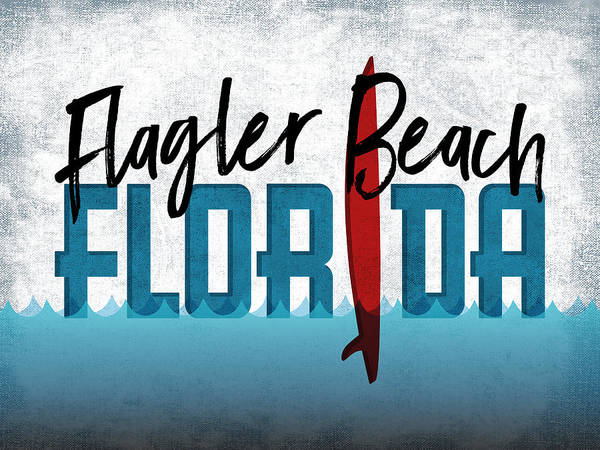 Flagler Beach Red Surfboard	 Art Print