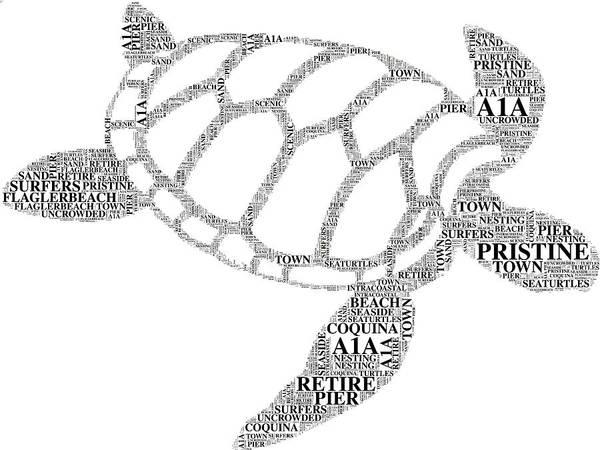 Digital Art - Flagler Beach Word Art by Alice Gipson