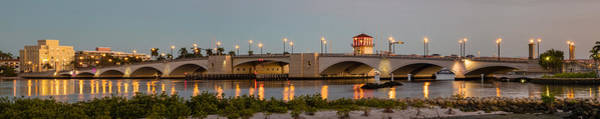 Flagler Beach Photograph - Flagler Bridge In Lights Panorama by Debra and Dave Vanderlaan