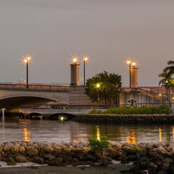 Photograph - Flagler Bridge In Lights V by Debra and Dave Vanderlaan