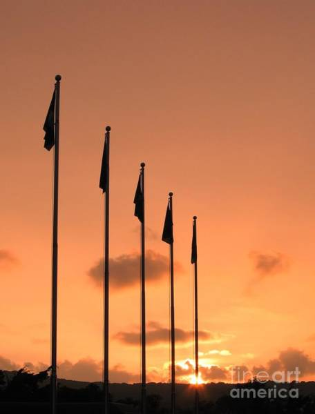 Delegation Photograph - Flagpoles And Sunset by Yali Shi