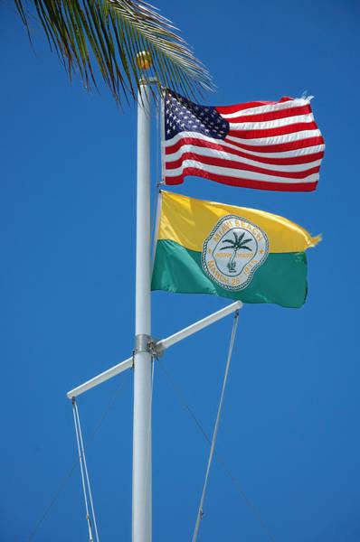 Flags At Beach Patrol Hq - Miami Art Print