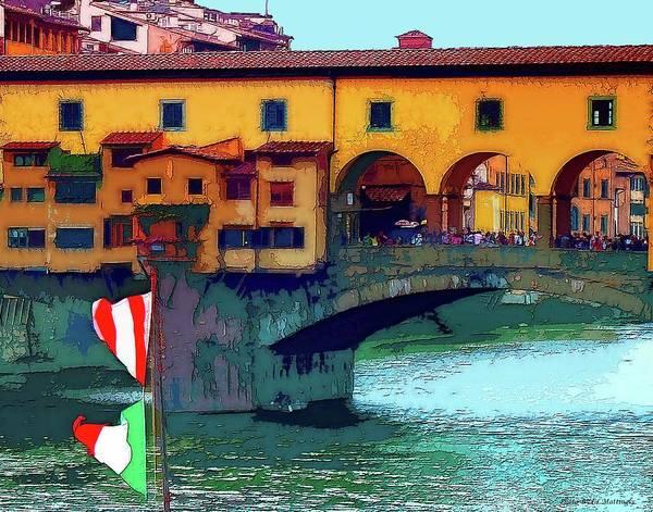 Photograph - Flags At Ponte Vecchio Bridge by Coleman Mattingly