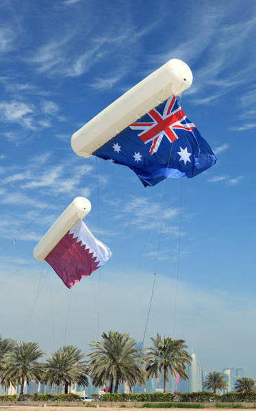 Photograph - Flags Over Doha For The Asian Cup by Paul Cowan
