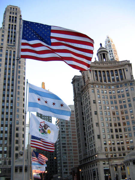 Photograph - Flags Over Michigan Ave by Laura Kinker