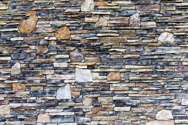 Photograph - Flagstone Wall by SR Green