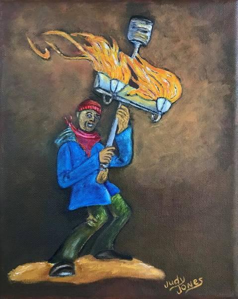 Wall Art - Painting - Flambeaux Man by Judy Jones