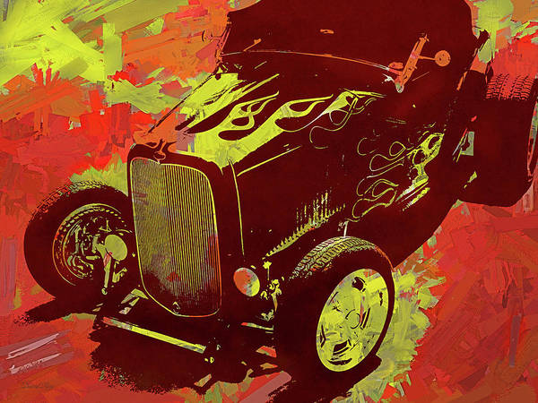 Digital Art - Flamed 1932 Ford Roadster Hot Rod Pop Red by David King