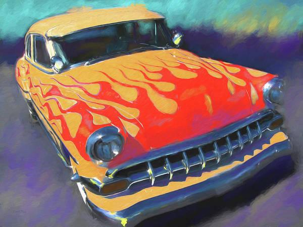 Digital Art - Flamed Chevy by David King
