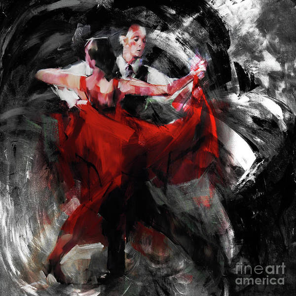 Latino Painting - Flamenco Couple Dance  by Gull G