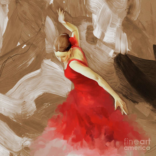 Latino Painting - Flamenco Dance Women 02 by Gull G