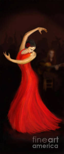 Andalusia Wall Art - Painting - Flamenco Dancer by John Edwards