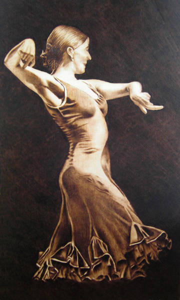 Pirografia Wall Art - Pyrography - Flamenco by Jose Luis  San Roman