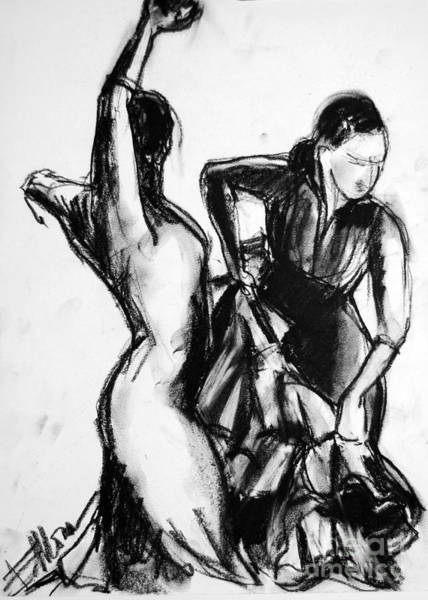 Shadows Drawing - Flamenco Sketch 1 by Mona Edulesco