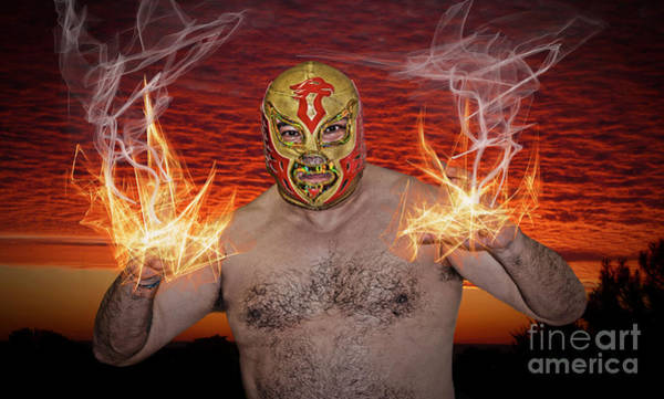 Pro Wrestler Wall Art - Photograph - Flames Shooting From The Hands Of Legendary Luchador The Chicano Flame  by Jim Fitzpatrick
