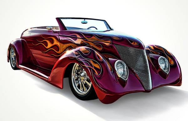 Roadster Wall Art - Digital Art - Flamin' Red Roadster by Douglas Pittman