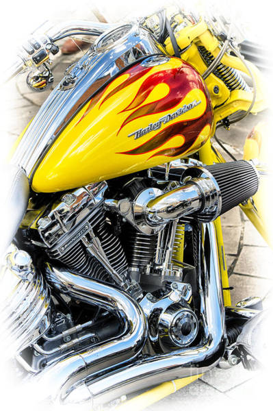 Chrome Engine Photograph - Flamin Yellow Chrome by Tim Gainey
