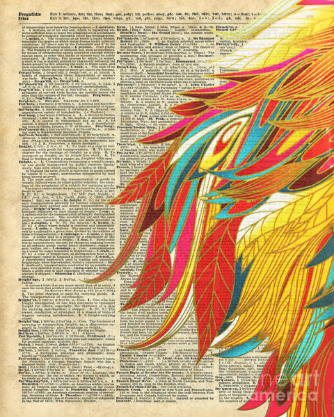 Wall Art - Digital Art - Flaming Colourful Feathers by Anna W