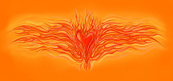 Flames Digital Art - Flaming Heart by David Kyte