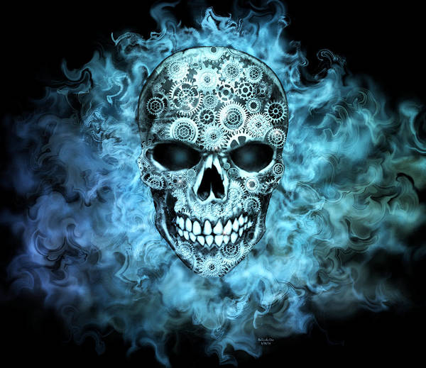 Digital Art - Flaming Steampunk Skull by Artful Oasis