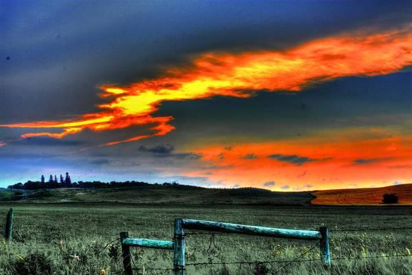 Photograph - Flaming Sunset by David Matthews