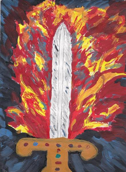 Flaming Sword Painting - Flaming Sword by Ann Harden