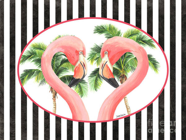 Flamingos Wall Art - Painting - Flamingo Amore 5 by Debbie DeWitt