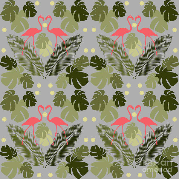 Wall Art - Digital Art - Flamingo And Palms by Claire Huntley