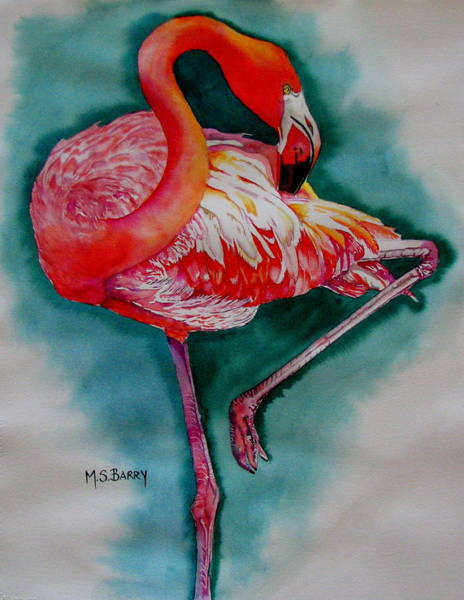 Wall Art - Painting - Flamingo Ballerina by Maria Barry