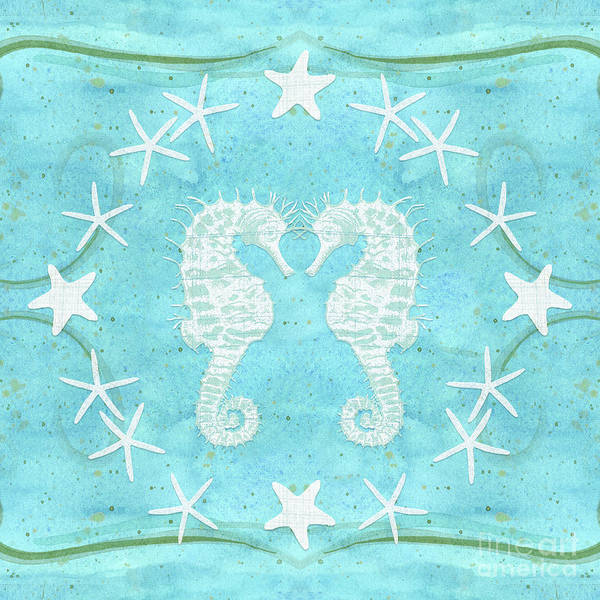 Wall Art - Painting - Flamingo Beach 2 - Seahorse N Starfish by Audrey Jeanne Roberts