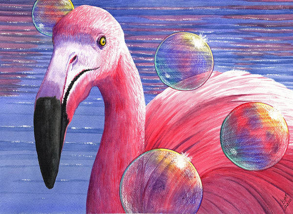 Painting - Flamingo Bubbles by Catherine G McElroy